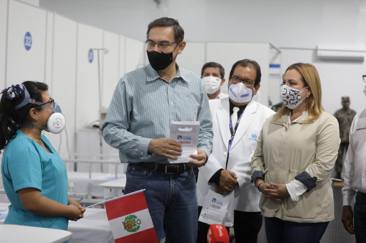 Essalud - Presidente Martín Vizcarra y Presidenta Ejecutiva Fiorella Molinelli ponen en marcha Villa EsSalud Tumbes con camas que utilizan concentradores que producen oxígeno ilimitado