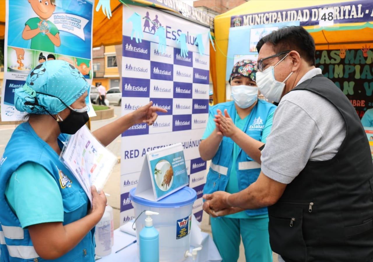 EsSalud Huánuco participa en actividad por Día mundial del lavado de manos